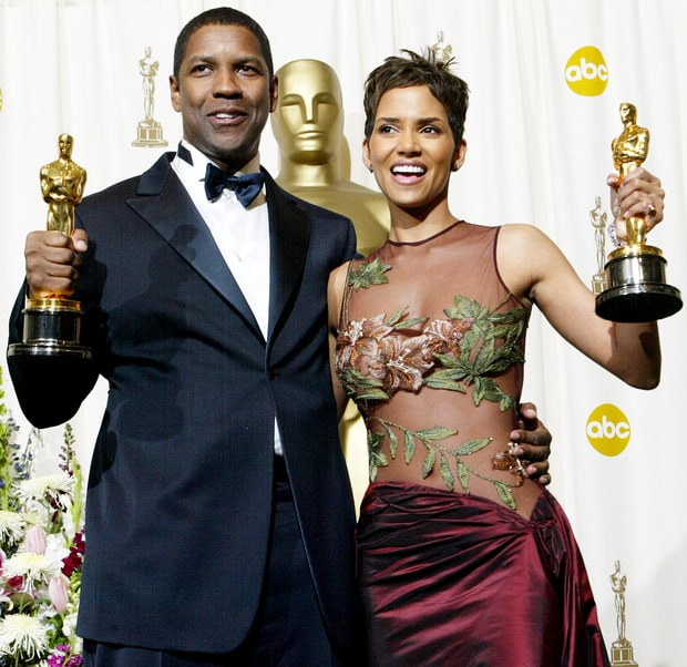 Denzel Washington and Halle Berry at the Oscars in 2002 (Courtesy: Frederick M. Brown/Getty Images)