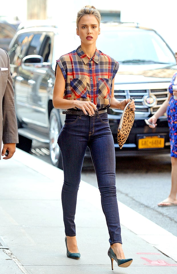 Plaid Perfection Jessica Alba S Best Street Style