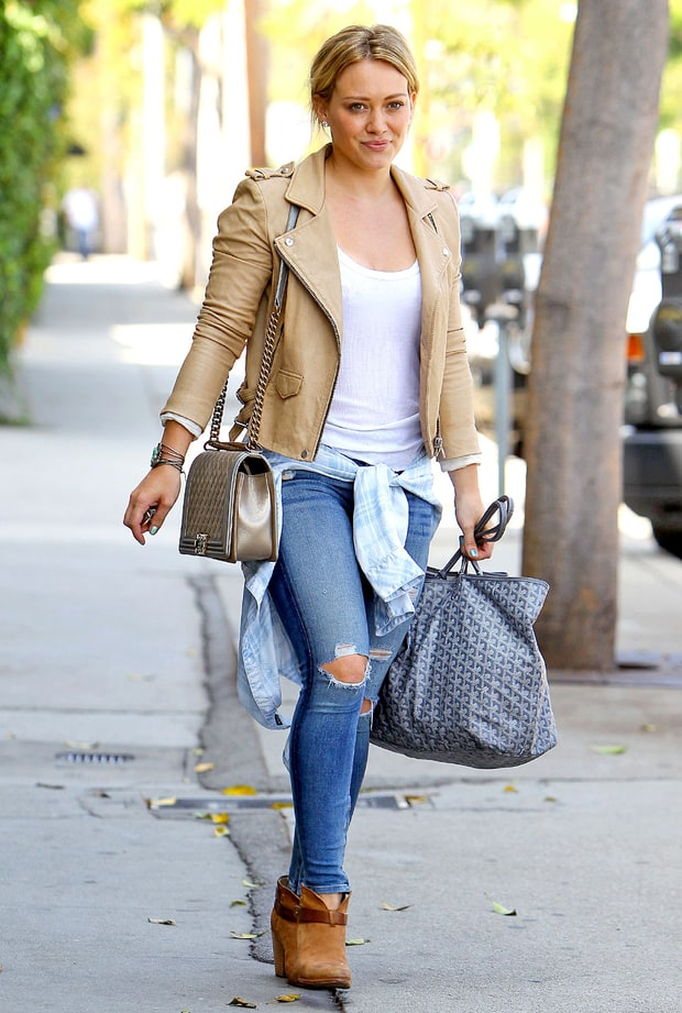 Leather Lover Hilary Duff S Cool Mom Street Style Us