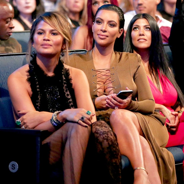 Chrissy Teigen, Kim Kardashian and Kourtney Kardashian