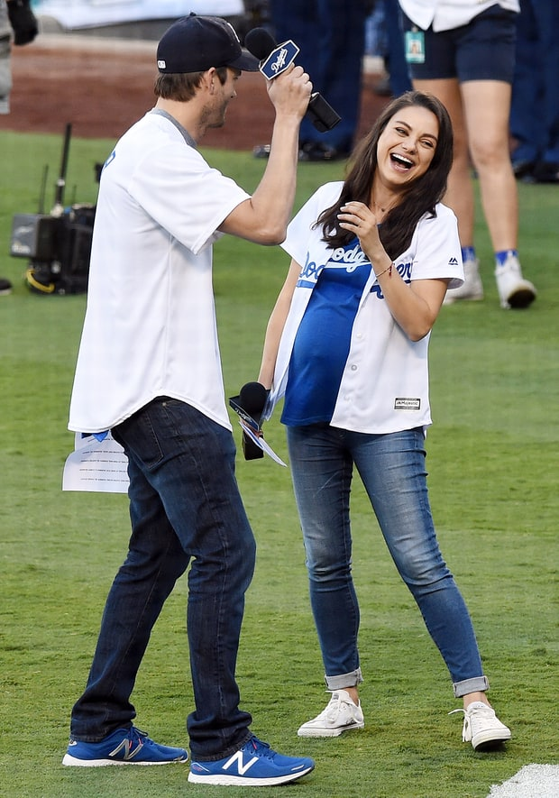 Pregnant Mila Kunis, Ashton Kutcher Have the Best Time at Dodgers Game