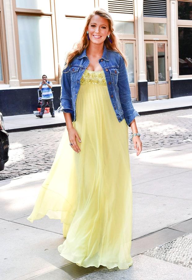 Yellow dress with denim jacket