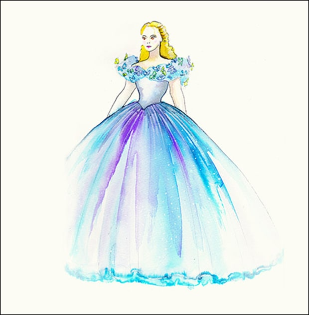 Princess Dress Sketches Designs Cinderellas Dresses For Lily James