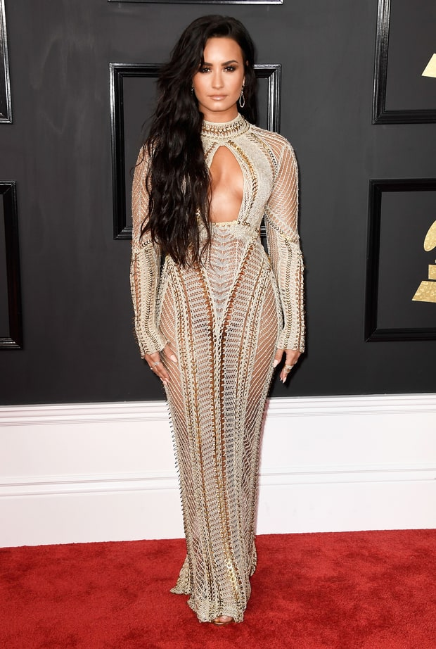 Image result for grammys 2017 red carpet demi lovato