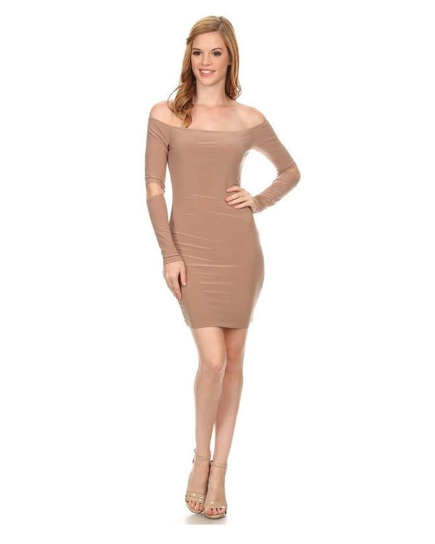 Image result for THE MYSTYLEMODE NUDE DOUBLE LINED OFF THE SHOULDER ELBOW CUT OUT MINI DRESS