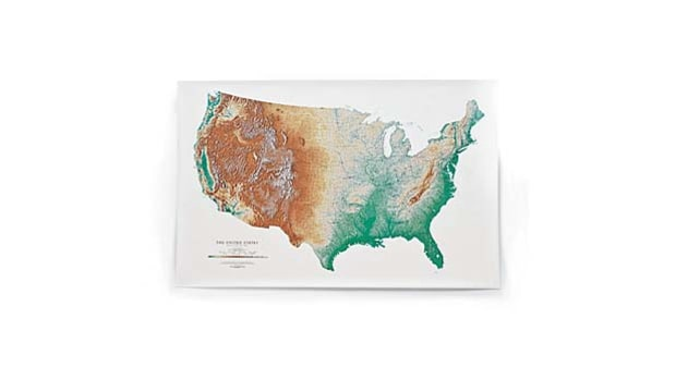 Topographic USA Wall Map