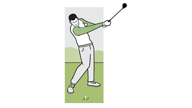The problem: A loose, hands-dominated swing where the left arm doesn't stay in close to your upper body.