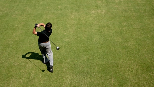 The problem: Failing to shift your weight back to your front side on the downswing (a.k.a.