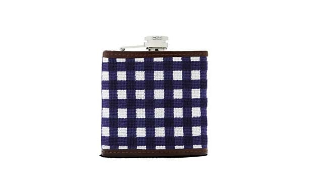Brooks Brothers Needlepoint Gingham Flask