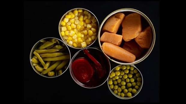 Canned foods and plastic containers