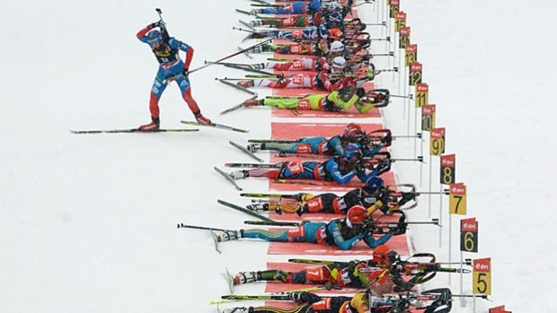 Mixed relay biathlon