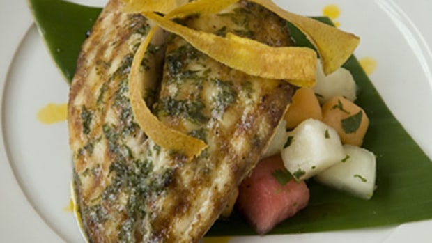 Sautéed Pompano With Melon And Mango Salad by Tenney Flynn