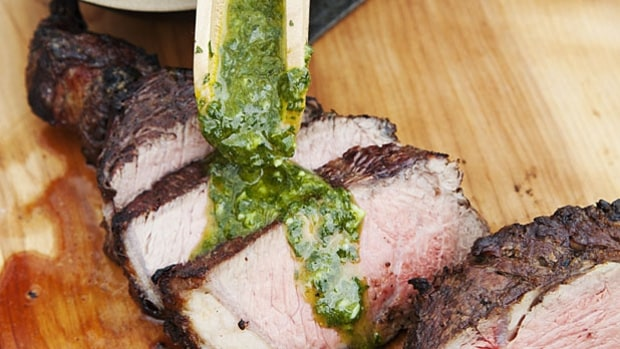Italian Cowboy Steak With Salsa Verde.