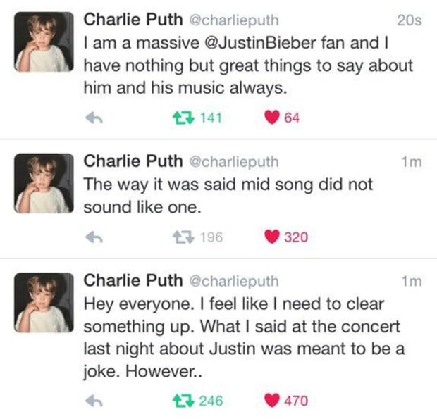 Tweets de disculpa de CharliePuth