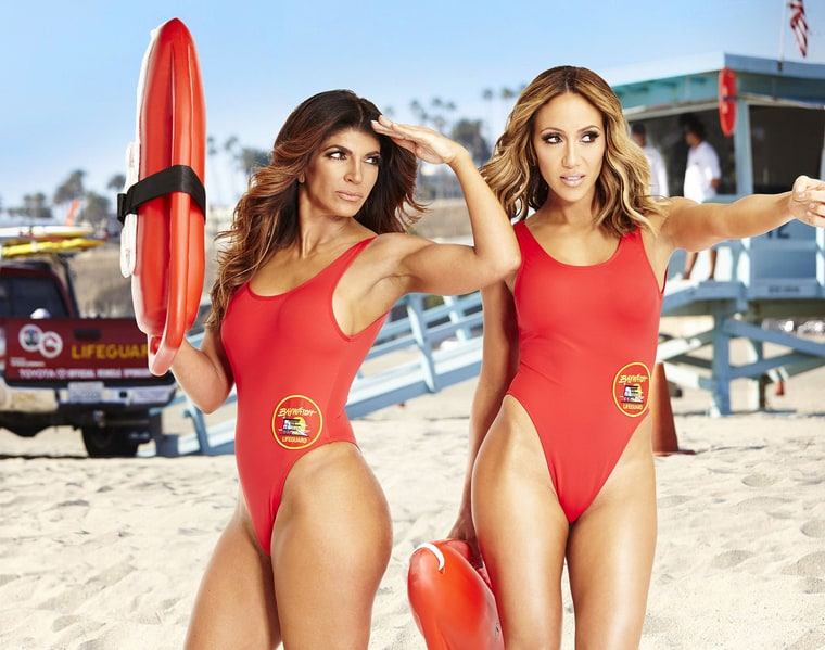 Teresa Giudice and Melissa Gorga have stopped feuding — at least long enough to pose in Baywatch swimsuits