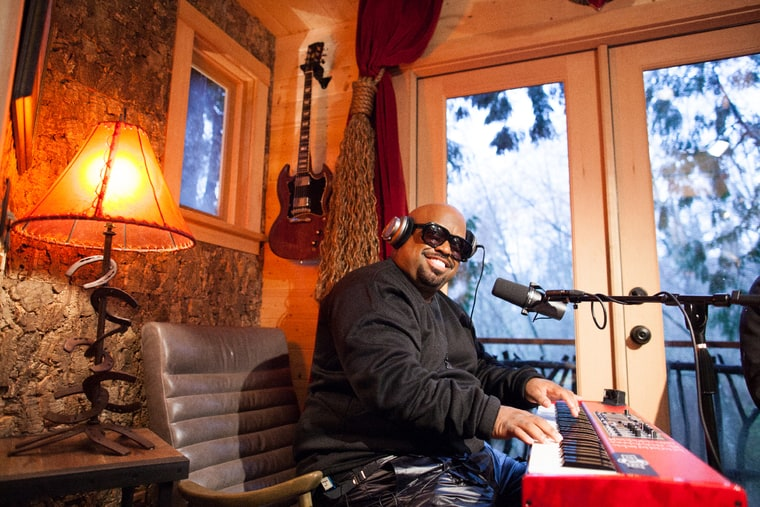 ceelo green records in the treehouse during the filming of treehouse masters on animal planet at bear creek studio in woodinville washington