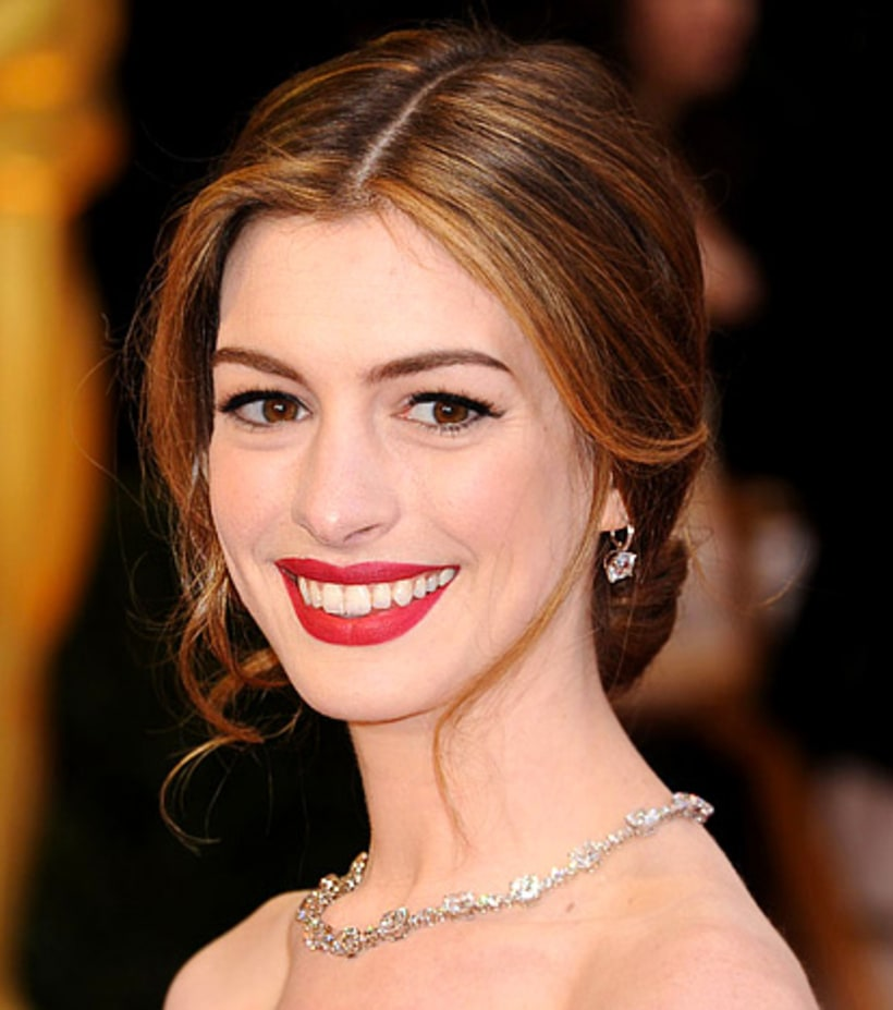Anne Hathaway's Romantic Updo And Bold Red Lips