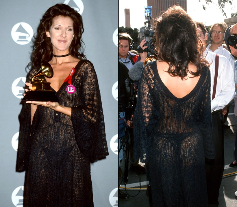 celine dion 1993 grammys red carpet most revealing