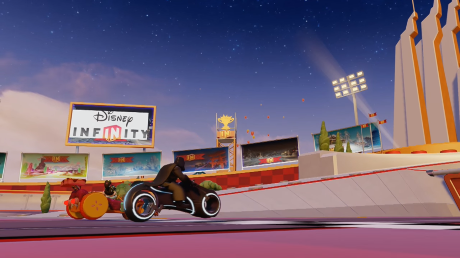 Darth Vader riding a 'TRON' light cycle while racing Vanellope on the Sugar Rush Speedway