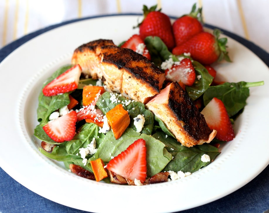 Blackened Salmon and Strawberry Salad