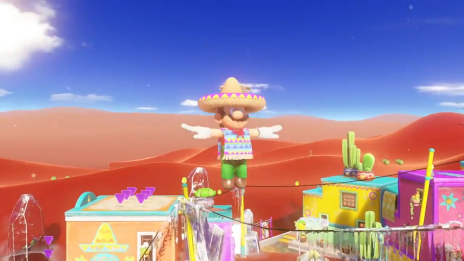 Mario's sombrero won us over immediately. This sand kingdom location is called Tostarena Town