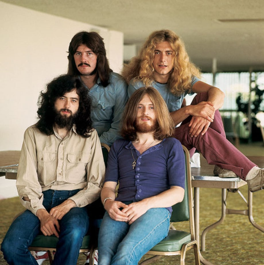 Led Zeppelin photographed at the Hyatt House in Los Angeles, California in 1970.