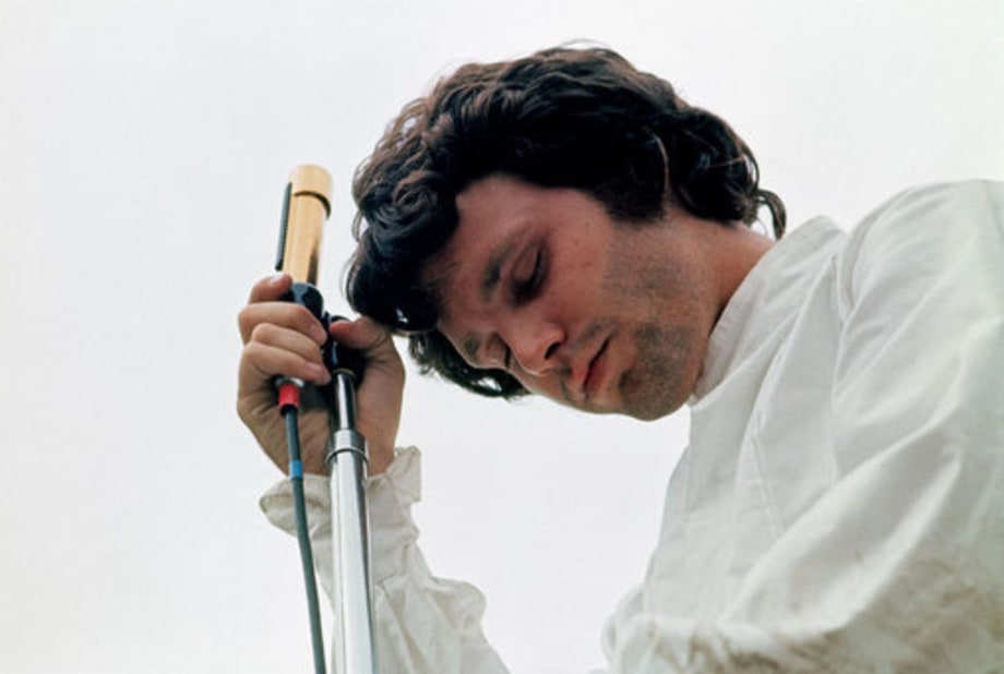Jim Morrison of the Doors photographed at the Northern California Folk Rock Festival in San Jose, California in 1968
