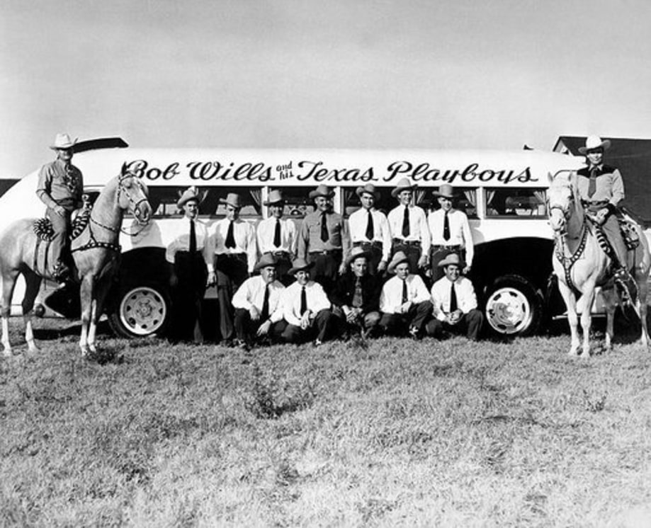 Bob Wills and His Texas Playboys photographed in October of 1945 in Fresno, California.