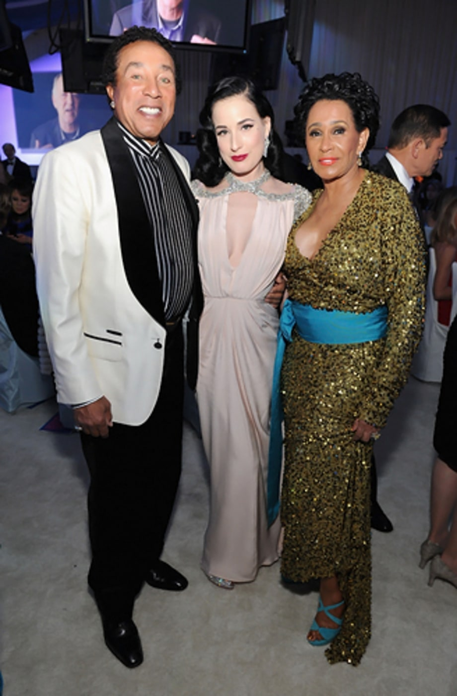 Smokey Robinson, Dita Von Teese and Frances Robinson