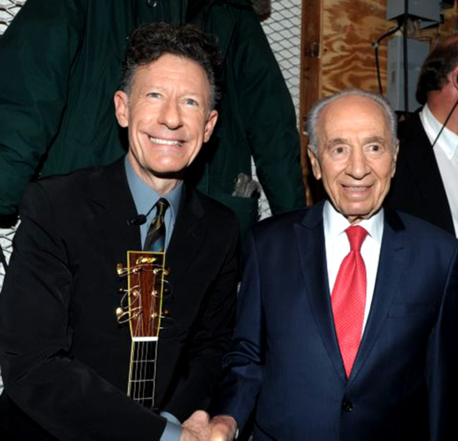 Israeli President Shimon Peres and Lyle Lovett