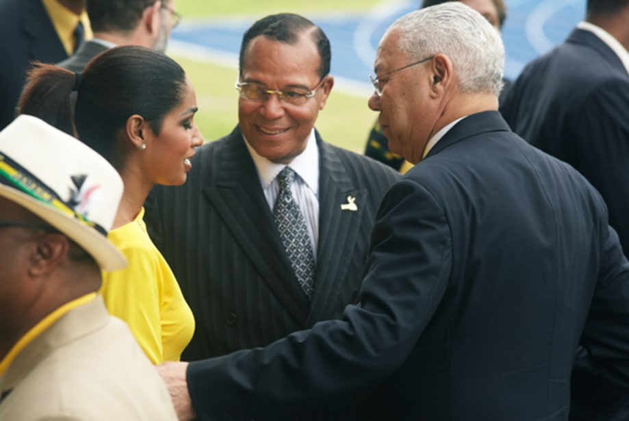 Colin Powell, Louis Farrakhan and Miss World Lisa Hanna