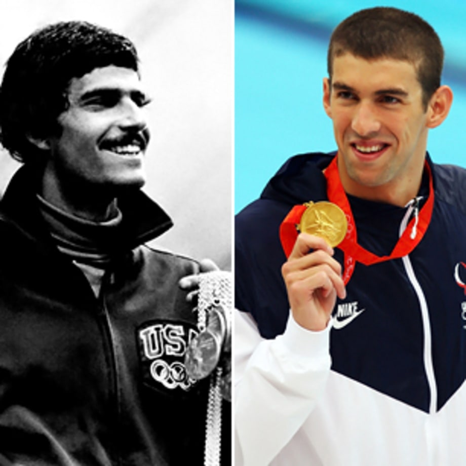 Tie: Mark Spitz (Munich 1972) and Michael Phelps (Bejing 2008)