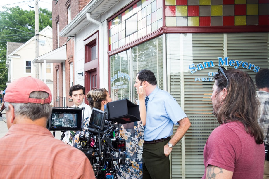 Craig Roberts and Richard Kind, filming 'Red Oaks' season finale