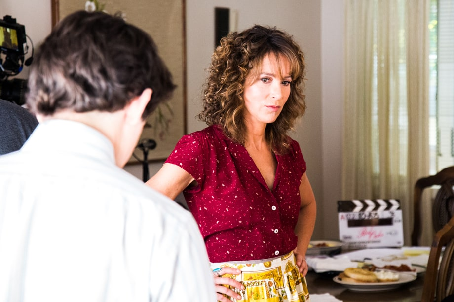 Jennifer Grey, between 'Red Oaks' scenes