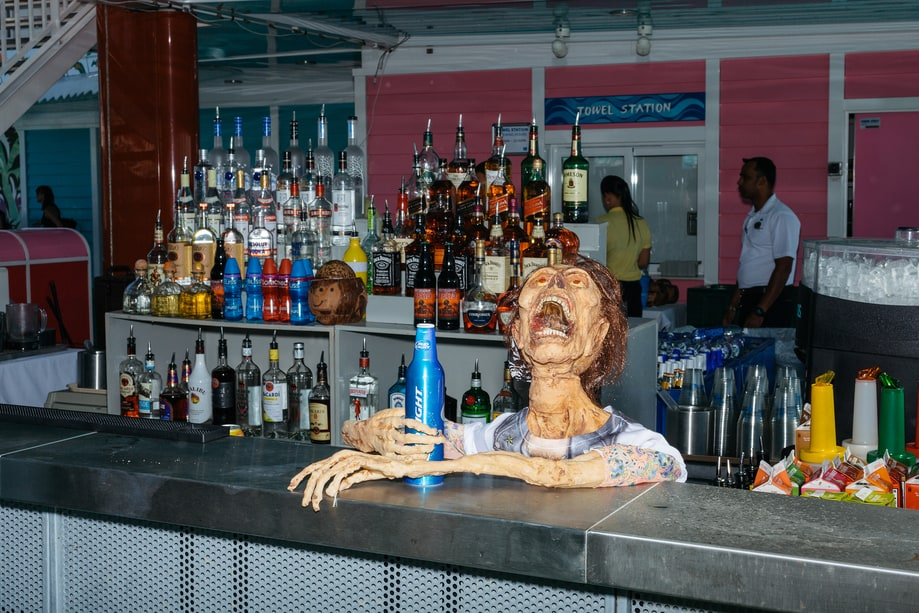 Zombie Grabs a Drink at the Bar