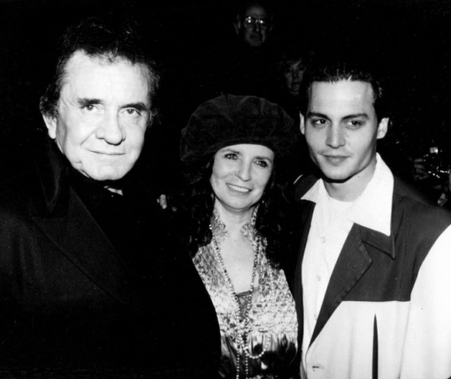 Johnny Depp, Johnny Cash and June Carter Cash (1993)