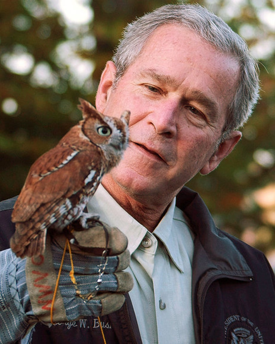 BUSH MOMENTS: October 20th, 2007: Bush Holds Screeching Owl