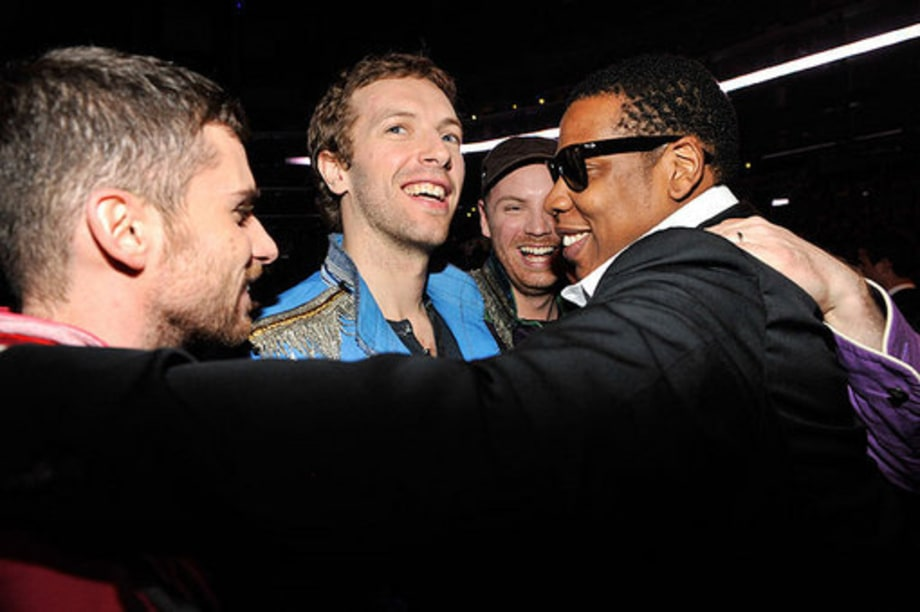 Grammy 2009: backstage: Coldplay and Jay-z