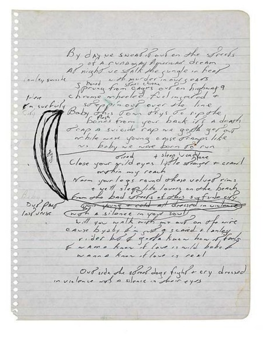 Springsteen's handwritten lyrics to
