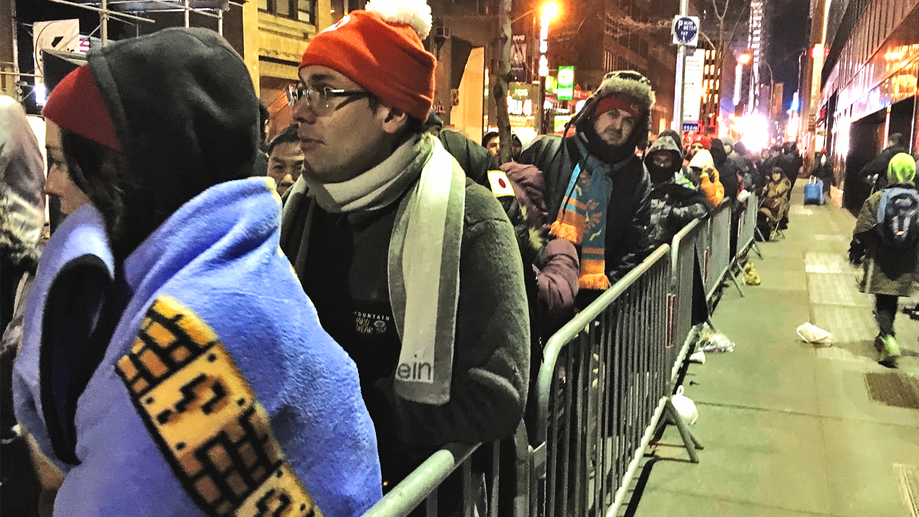 Long lines snaked along Rockefeller Plaza outside the Nintendo World store in New York