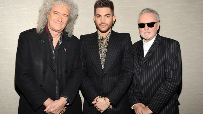 Brian May, Adam Lambert and Roger Taylor backstage before their tour announcement at Madison Square Garden in New York City. Credit: Kevin Mazur/WireImage