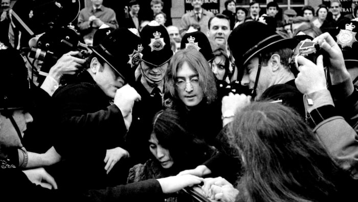 English singer songwriter and musician john lennon and yoko ono leave