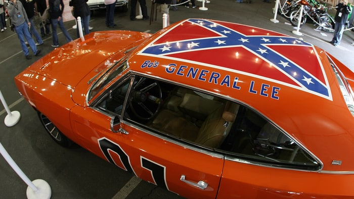 a 1969 dodge charger dubbed the general lee from the tv series the dukes of hazzard is displayed during the 37th annual barrett jackson collector cars