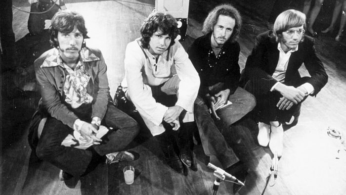 The Doors\u0027 Robby Krieger (second from right) and John Densmore (left) reflect on the band\u0027s earliest concerts chronicled on the recently released box set \u0027 ...
