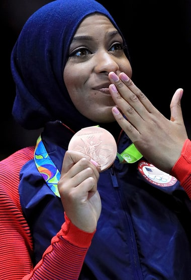 Ibtihaj Muhammad Wins Bronze in Fencing, First U.S. Athlete to Compete at Olympics Wearing a Hijab