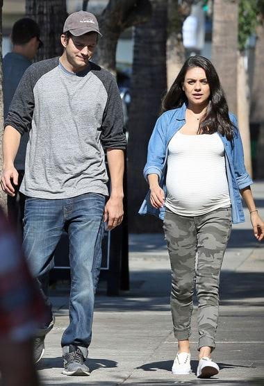 pregnant mila kunis and ashton kutcher step out to bakery