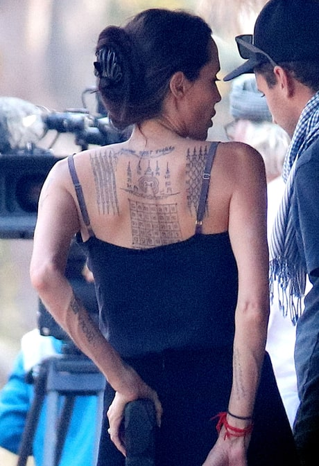 Angelina Jolie Spotted With Three New Large Back Tattoos on Movie Set: See the Photos!