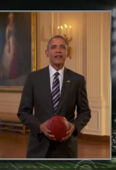 President Obama Predicts Super Bowl 2016 Winner, Michelle Obama Does Touchdown Dance on Stephen Colbert's 'Late Show'