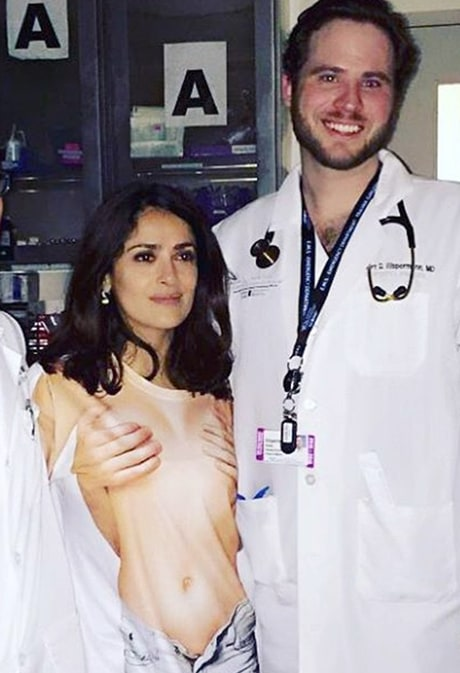 Salma Hayek Rushed to ER for Minor Head Injury, Poses With Doctors in LOL Shirt