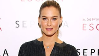 Bar Refaeli Flaunts Toned Midriff in Leather Outfit